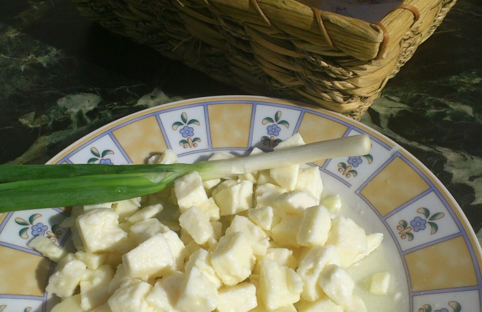 Cheese from a lambskin